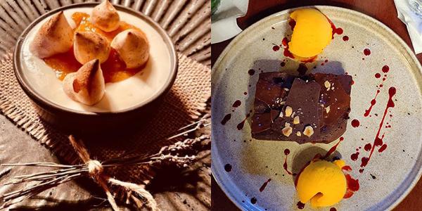 Restaurant Charlie Cluj - Desert Creamy cheesecake cu chutney de piersici și bezea și Brownie cu înghețată de mango
